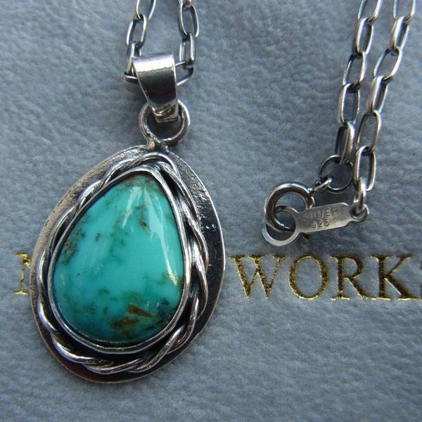 画像2: North Works 10¢Teardrop Wire Rim TurQuoise Pendant/Navajo chain50cm ティアドロップワイヤーリムターコイズペンダント