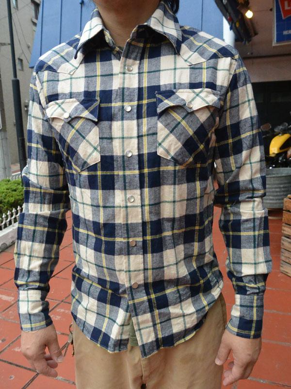 画像1: FULLNELSON フルネルソンオリジナル ウエスタンネルシャツ NAVY/BEIGE