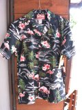 Made in USA Robert J. Clancey Aloha Shirts コットンアロハシャツPink Flamingo Black