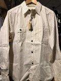 SUGAR CANE フィクションロマンス 8.5oz ホワイトウォバッシュストライプ ワークシャツ