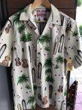 Made in USA Robert J. Clancey Aloha Shirts コットンアロハシャツ board&ウクレレ アイボリー