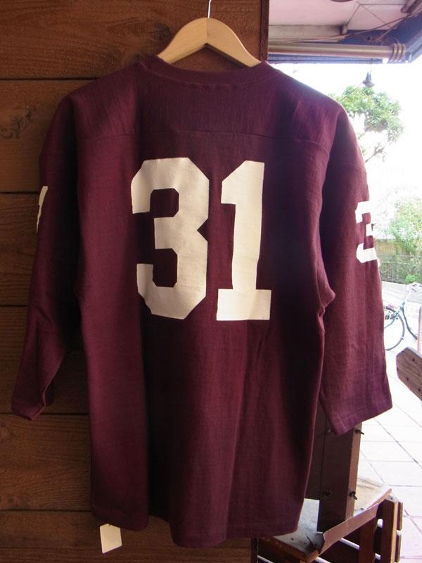 画像2: WAREHOUSE FOOTBALL TEE ウエアハウス 7分袖フットボールTシャツ ボルドー ROOSEVELT BOLDEAUX