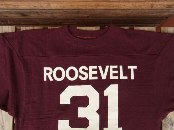画像3: WAREHOUSE FOOTBALL TEE ウエアハウス 7分袖フットボールTシャツ ボルドー ROOSEVELT BOLDEAUX