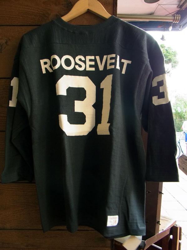 画像1: WAREHOUSE FOOTBALL TEE ウエアハウス 7分袖フットボールTシャツ ROOSEVELT BLACK