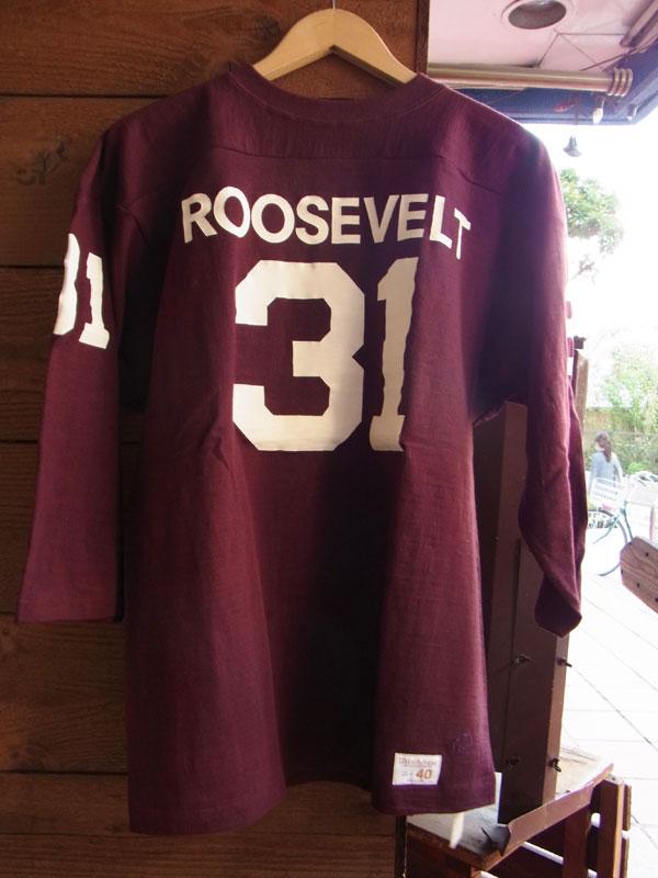 画像1: WAREHOUSE FOOTBALL TEE ウエアハウス 7分袖フットボールTシャツ ボルドー ROOSEVELT BOLDEAUX