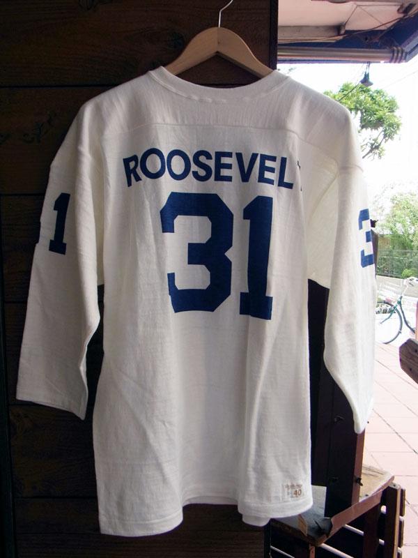 画像1: WAREHOUSE FOOTBALL TEE ウエアハウス 7分袖フットボールTシャツ ROOSEVELT WHITE