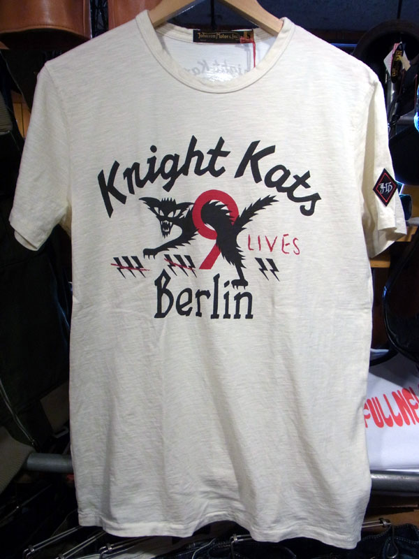 画像1: Johnson Motors'Inc KNIGHT KATS S/S tee ジョンソンモータース半袖Tシャツ DIRTY WHITE