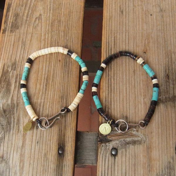 画像1: North Works Nickel 10¢ Hook Heishi Bracelet ノースワークスニッケル10セントフックヘイシブレスレット