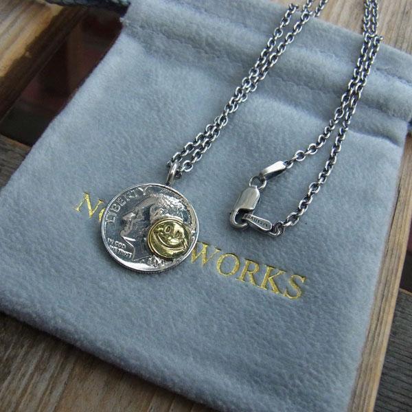 画像1: North Works 10¢Brace Point Pendant Smile /50cm Chain ノースワークス10セントブラスポイントペンダントスマイル