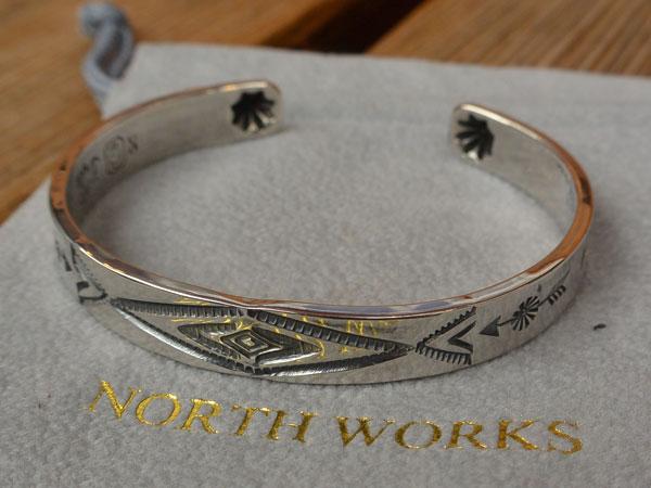 画像1: North Works Stamped 900Silver Cuff Bracelet ノースワークススタンプ900シルバーカフブレスレット