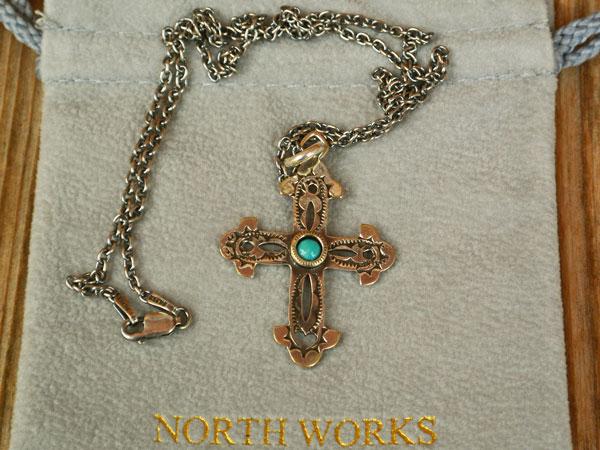 画像1: North Works900 Silver Stamp&TQ CROSS PENDANT/50cm Chain ノースワークス900シルバースタンプ&ターコイズクロスペンダント
