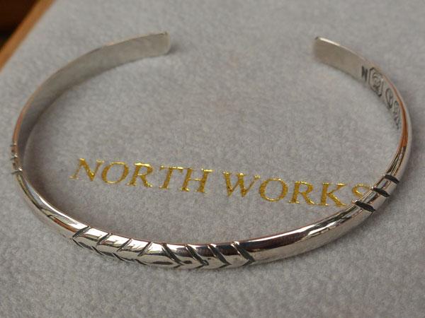 画像1: North Works Stamped 900Silver super narrow 2 Cuff Bracelet ノースワークススタンプ900シルバースーパーナロウ2カフブレスレット
