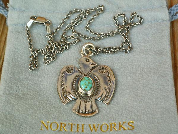 画像1: North Works 25¢THUNDERBIRD PENDANT TQ/50cm Chain ノースワークス25セントサンダーバードペンダント ターコイズ