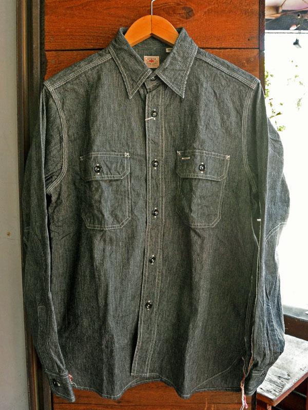 画像1: SUGARCANE JEAN CORD STRIPE L/S WORK SHIRT シュガーケーン ジーンコードストライプ長袖ワークシャツ SC25511 BLACK