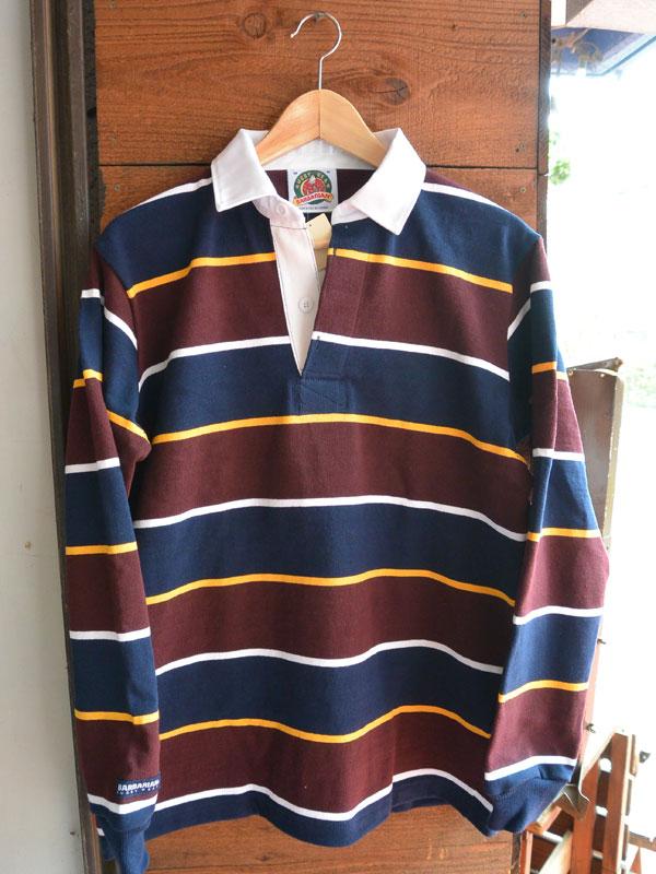 画像1: バーバリアン ラガーシャツ BARBARIAN RUGBY WEAR NVY/GLD/HARWHT