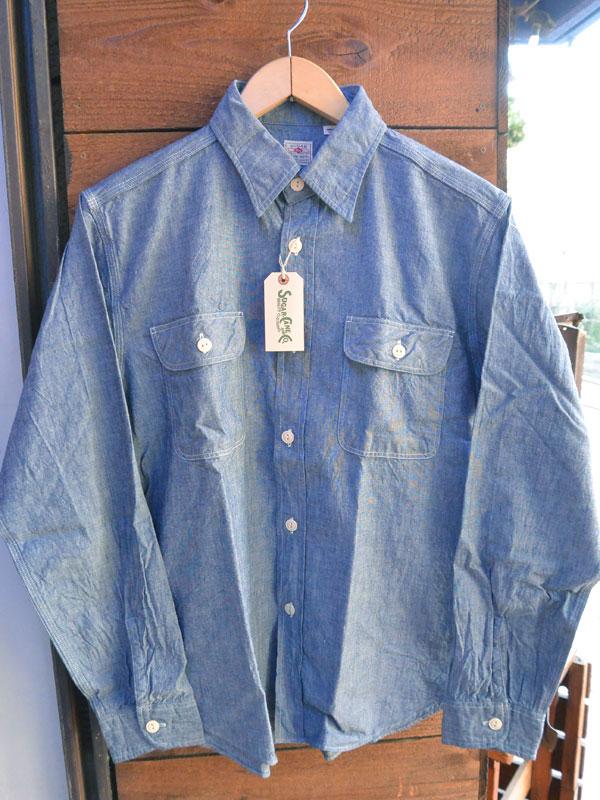 画像1: シュガーケーン シャンブレー長袖ワークシャツSUGARCANE BLUE CHAMBRAY L/S WORK SHIRT SC25677 NAVY