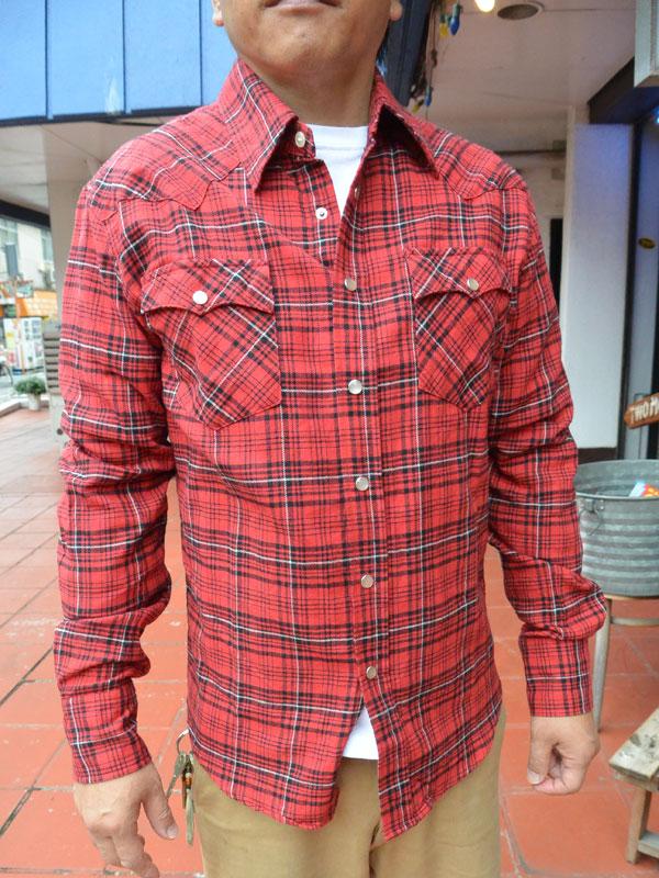 画像1: FULLNELSON フルネルソンオリジナル ウエスタンネルシャツ RED