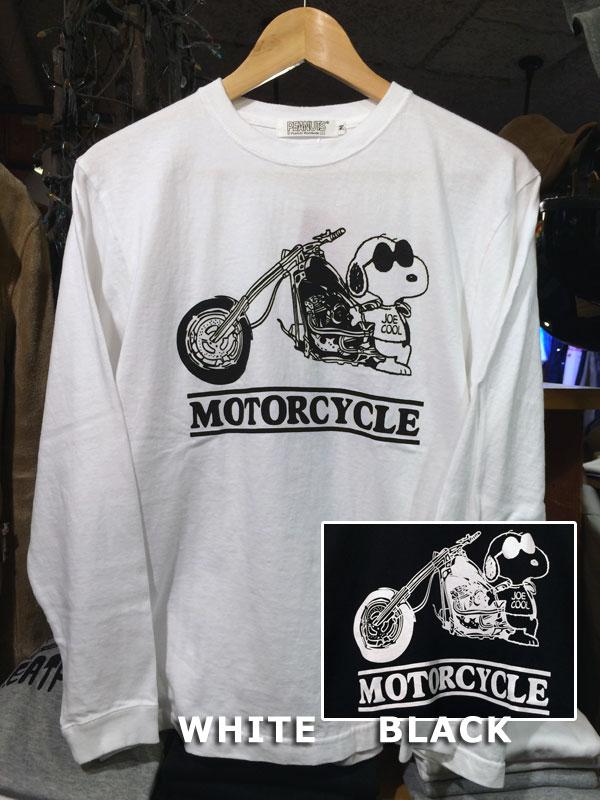 画像1: FULLNELSON×PEANUTS Long sleeve Tee フルネルソン×ピーナッツ スヌーピー長袖Tシャツ MOTOR CYCLE