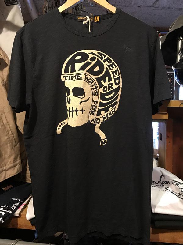 画像1:  Johnson Motors'Inc SPEED HELMET S/S tee ジョンソンモータース半袖TシャツOILED BLACK