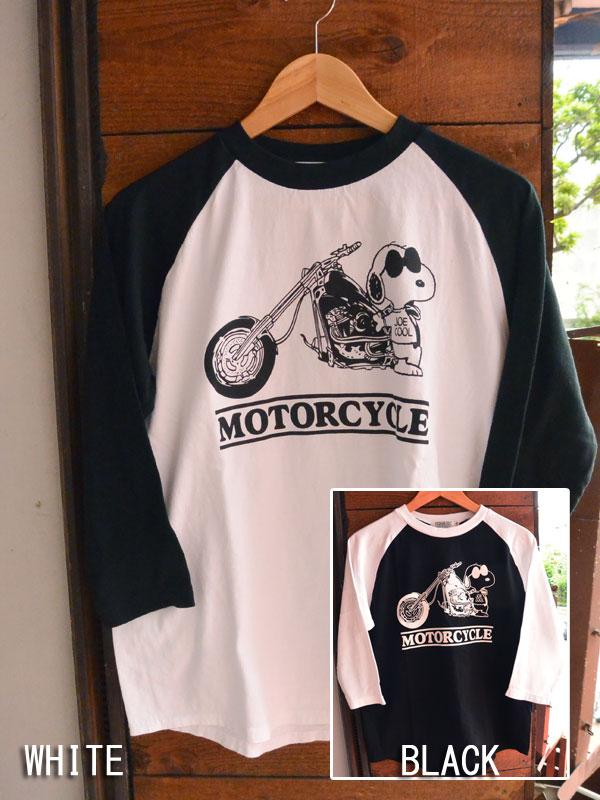 画像1: FULLNELSON×PEANUTS フルネルソン×ピーナッツ スヌーピー7分袖 ラグランベースボールTee MOTOR CYCLE