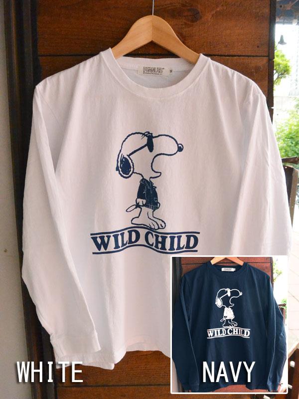 画像1: FULLNELSON×PEANUTS Long sleeve Tee フルネルソン×ピーナッツ スヌーピー長袖Tシャツ WILD CHILD