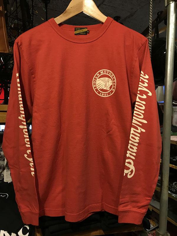 画像1: INDIAN MOTORCYCLE インディアンモーターサイクル 長袖Tシャツ IM67734-red