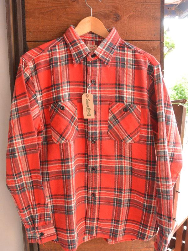 画像1: SUGARCANE TWILL CHECK L/S WORK SHIRTシュガーケーン ツイルチェックワークシャツ SC27703-RED