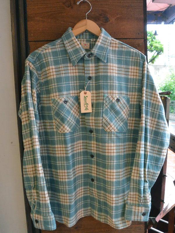 画像1: SUGARCANE TWILL CHECK L/S WORK SHIRTシュガーケーン ツイルチェックワークシャツ SC27701-GRN