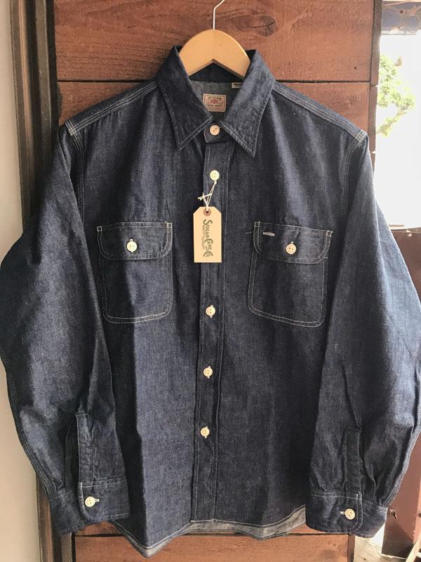 画像1: SUGARCANE DENIM WORK SHIRTシュガーケーン デニムワークシャツ SC27852-421-Nvy