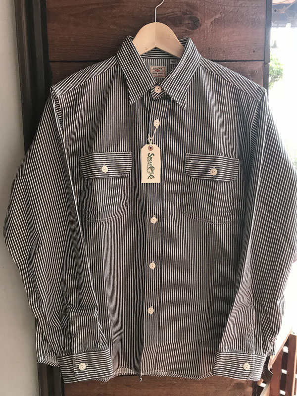画像1: SUGARCANE HICKORY STRIPE WORK SHIRTシュガーケーン ヒッコリーストライプワークシャツ SC27853-119BLACK