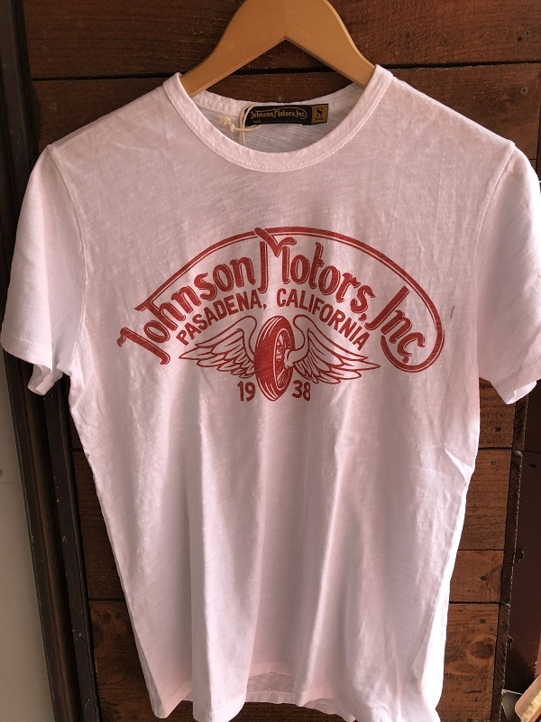 画像1: Johnson Motors'Inc S/S tee ジョンソンモータース半袖Tシャツ WINGED WHEEL OPTIC WHITE/RED