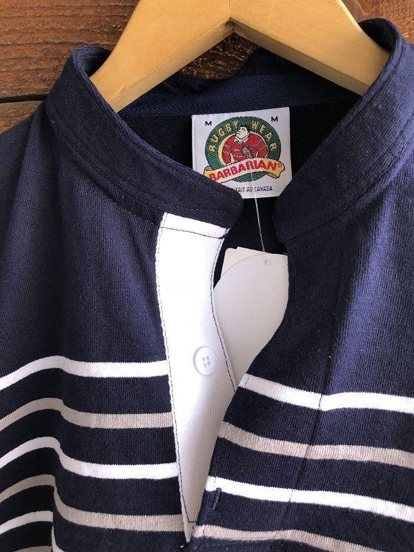 画像2: BARBARIAN ヘンリーネックボーダーラガーシャツ