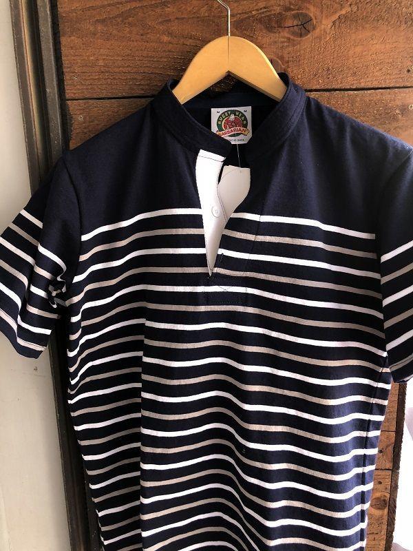 画像1: BARBARIAN ヘンリーネックボーダーラガーシャツ