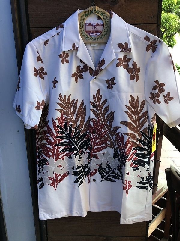 画像1: Made in USA Robert J. Clancey Aloha Shirts コットンアロハシャツ leaf WHITE