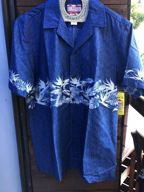 画像1: Made in USA Robert J. Clancey Aloha Shirts コットンアロハシャツ wood BLUE
