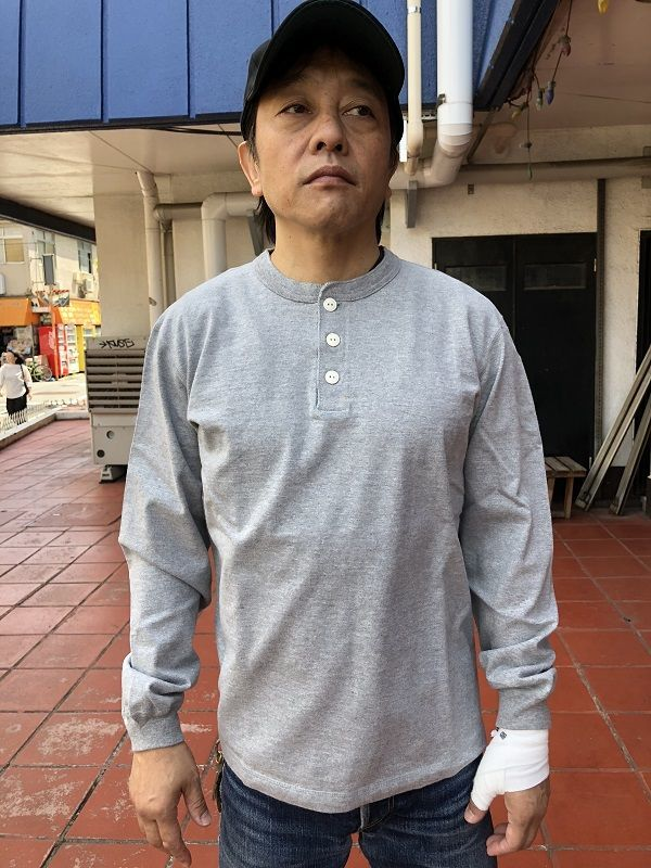 画像2: BARNSバーンズ 丸胴 ヘンリーネック 長袖Tシャツ