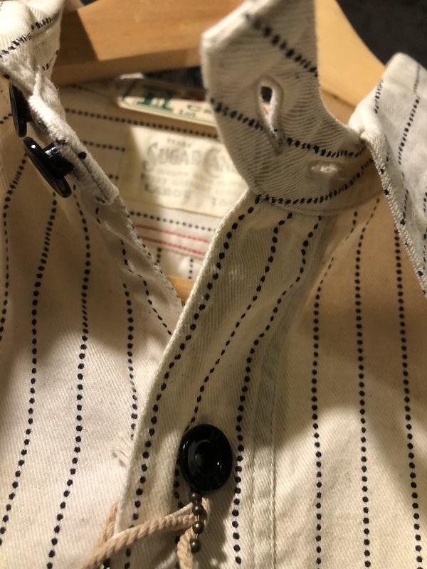 画像3: SUGAR CANE フィクションロマンス 8.5oz ホワイトウォバッシュストライプ ワークシャツ