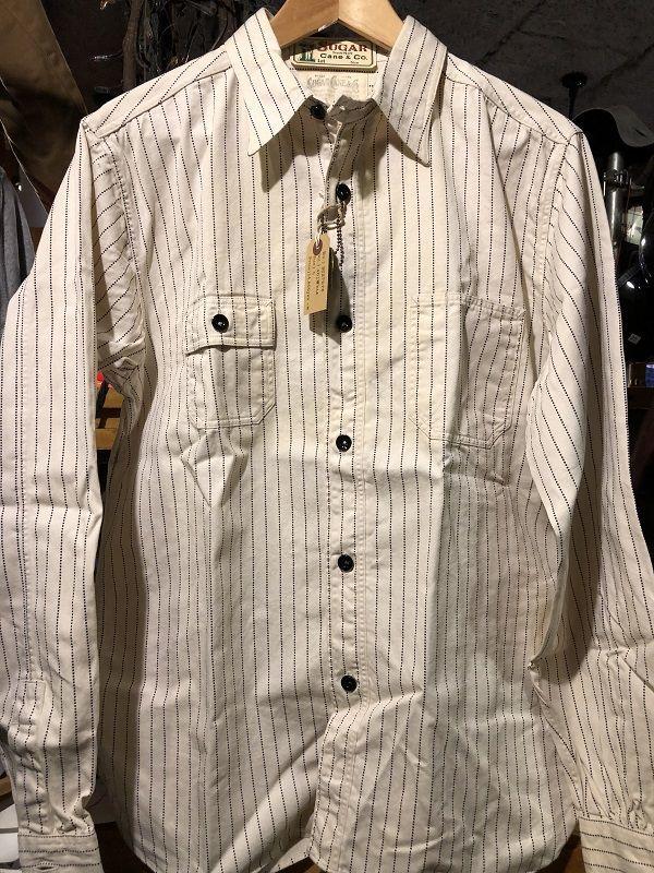 画像1: SUGAR CANE フィクションロマンス 8.5oz ホワイトウォバッシュストライプ ワークシャツ