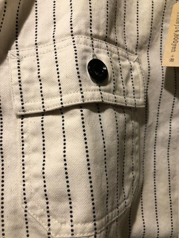 画像2: SUGAR CANE フィクションロマンス 8.5oz ホワイトウォバッシュストライプ ワークシャツ