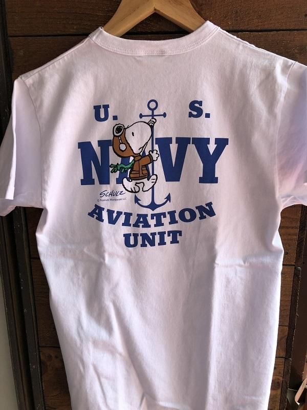 画像1: BUZZ RICKSONS ミリタリーTシャツPEANUTS SNOOPYスヌーピー「AVIATION UNIT」