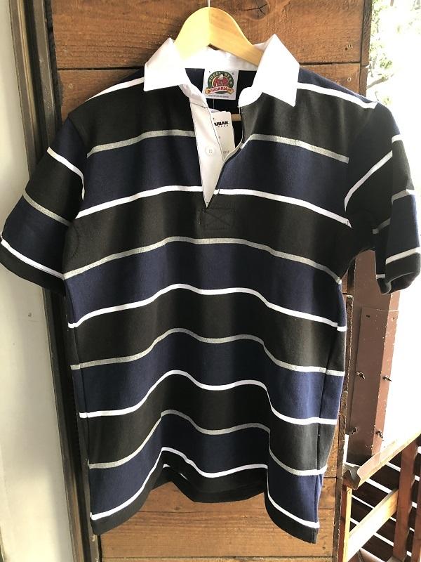 画像1: BARBARIAN 半袖ボーダーシャツ BLACK×NAVY