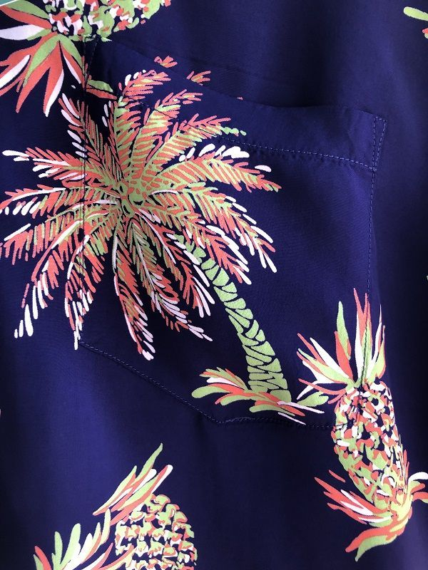 "画像2: SUN SURF サンサーフ アロハシャツ S/S ""STUDDED WITH PALM TREE AND PINEAPPLE"" NAVY"