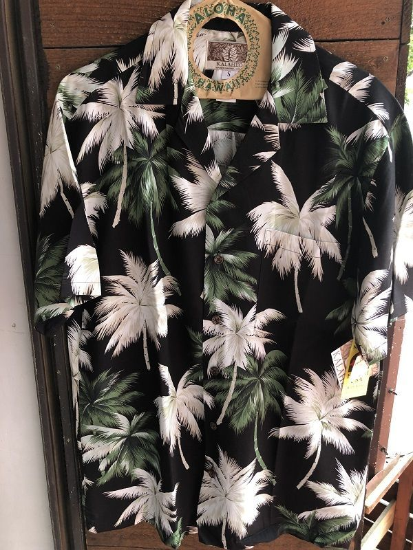 画像1: Made in USA Robert J. Clancey Aloha Shirts レーヨンアロハシャツ leaf BLACK