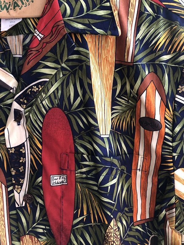 画像2: Made in USA Robert J. Clancey Aloha Shirts コットンアロハシャツ leaf surf board