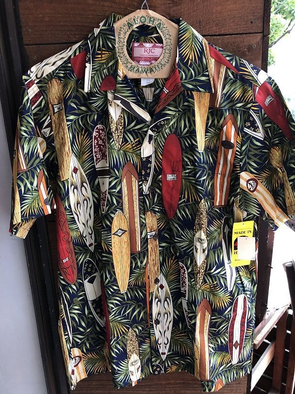 画像1: Made in USA Robert J. Clancey Aloha Shirts コットンアロハシャツ leaf surf board