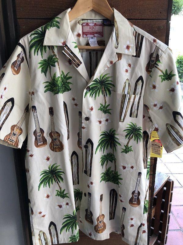 画像1: Made in USA Robert J. Clancey Aloha Shirts コットンアロハシャツ board&ウクレレ アイボリー