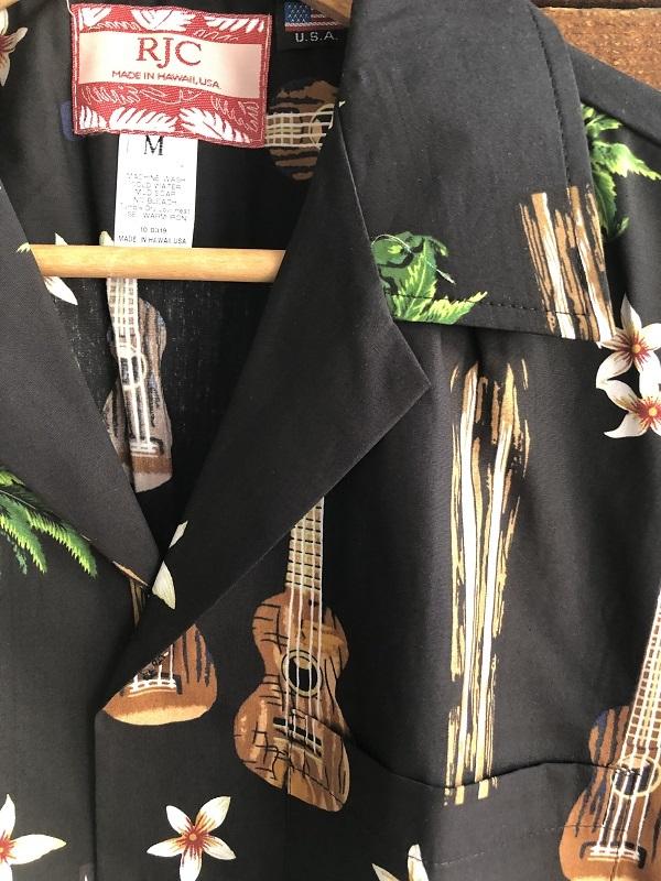 画像2: Made in USA Robert J. Clancey Aloha Shirts コットンアロハシャツ board&ウクレレ ブラック