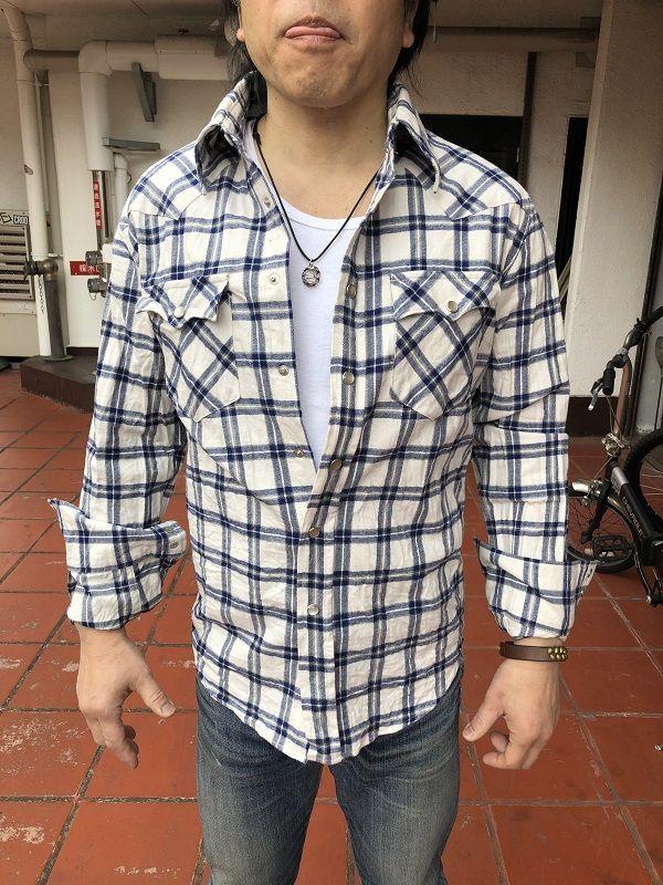 画像2: FULLNELSON フルネルソンオリジナル ウエスタンネルシャツ オフホワイト×ブルー