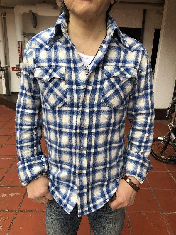 画像2: FULLNELSON フルネルソンオリジナル ウエスタンネルシャツ WHITE/BLUE