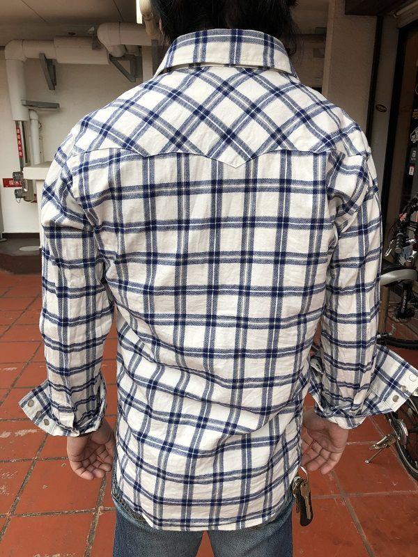 画像4: FULLNELSON フルネルソンオリジナル ウエスタンネルシャツ オフホワイト×ブルー